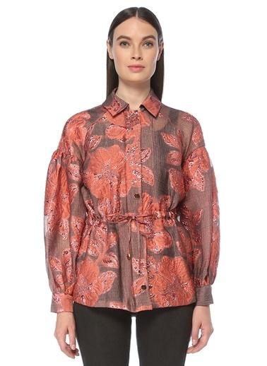 NetWork NetWork 1076424 Regular Fit Renkli ÇiÇek Kabartmalı Kadın Ceket Bakır